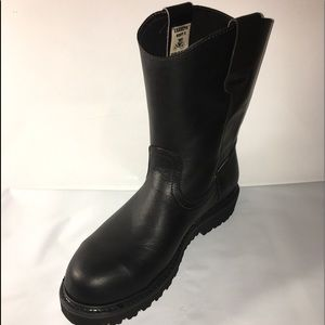Men's Work Boots Pull On Leather Black Steel Toe